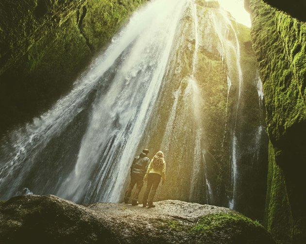 The couple at Gljufrabui Waterfall in Iceland.