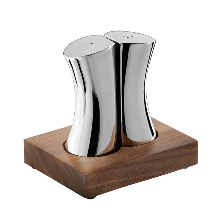 Robert Welch Drift Salt & Pepper Shakers with Walnut Base
