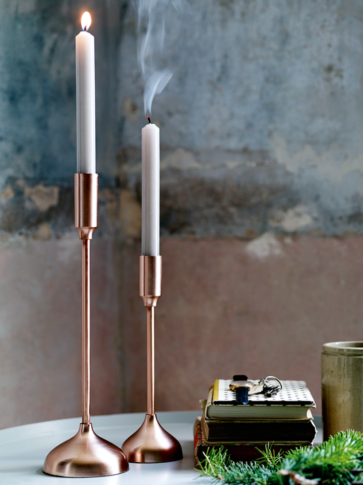 Cox & Cox two-brushed-copper-candlesticks