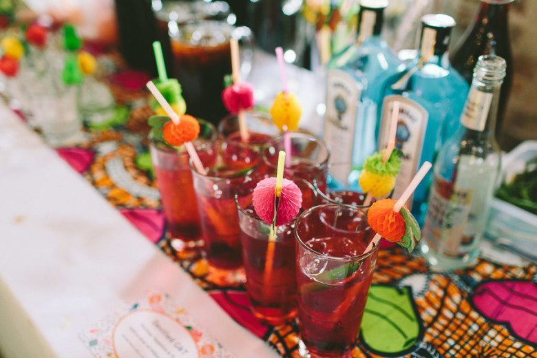 colorful drinks at a wedding