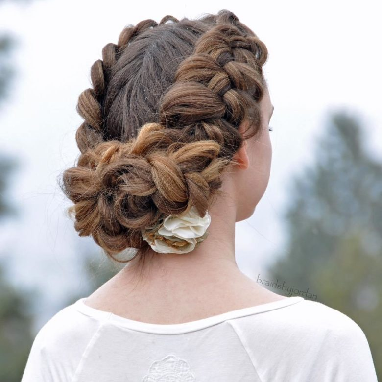 twin braid updo hairstyle