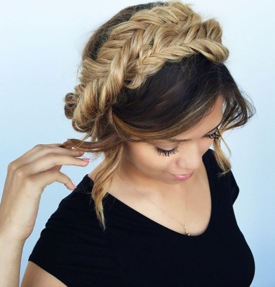braided crown updo hairstyle