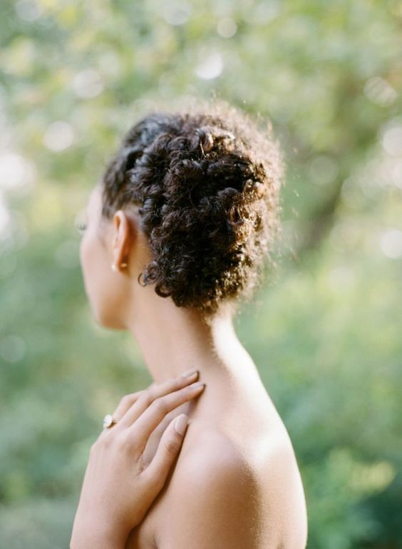 easy updo low bun on natural hair