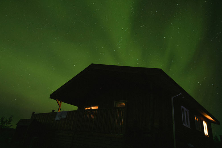 Aurora Borealis over house