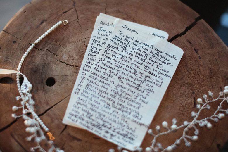 handwritten wedding vows