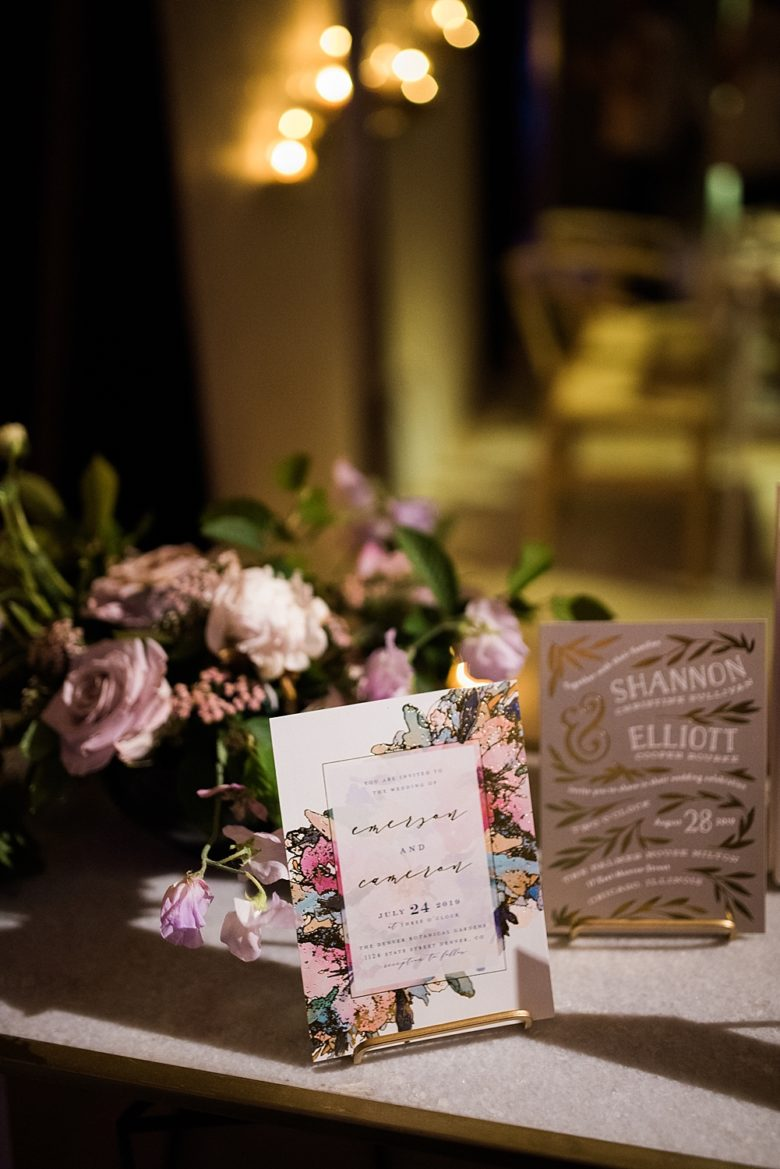 minted invitations on display at a wedding event