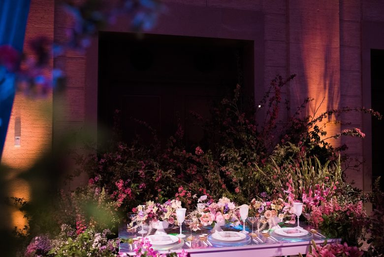 floral display at a wedding event