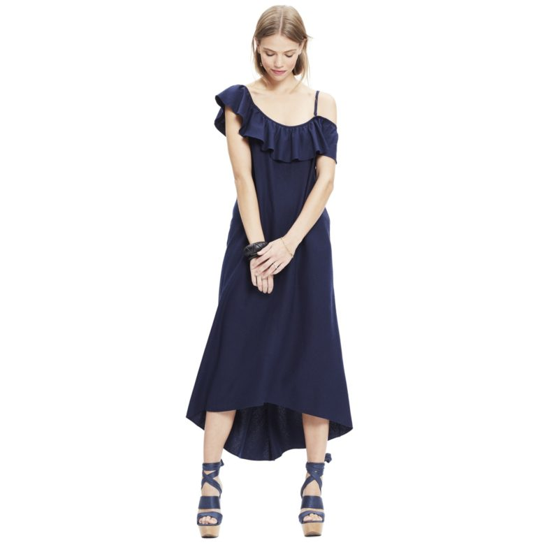 blue navy breastfeeding dresses with ruffle on front