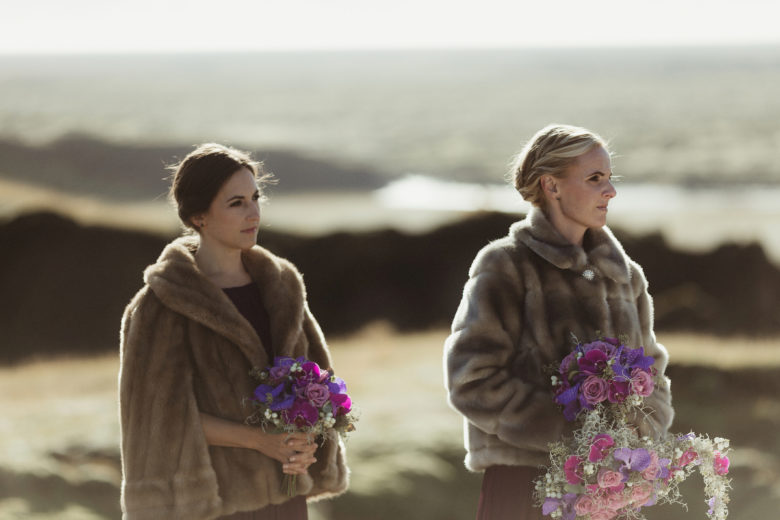 Bridesmaids in fur jackets