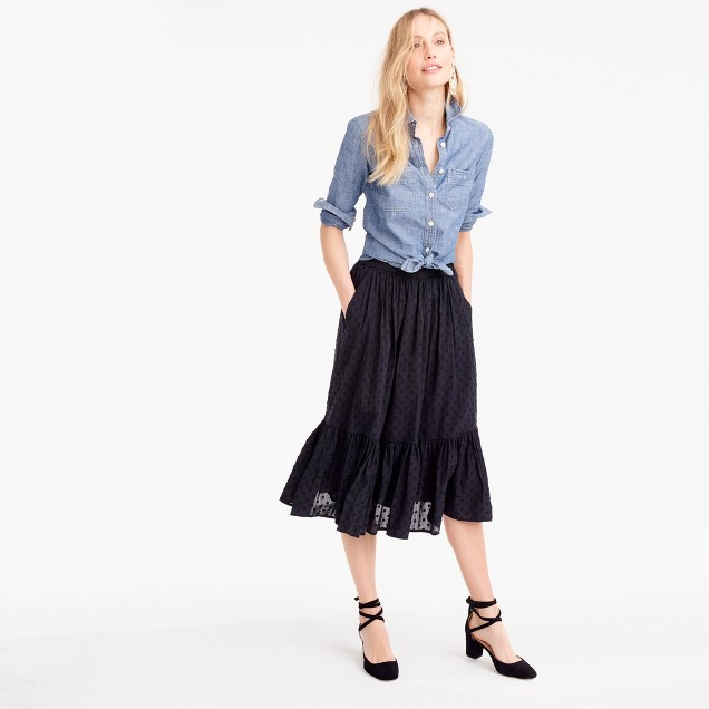 chambray shirt and black skirt for nursing friendly outfits