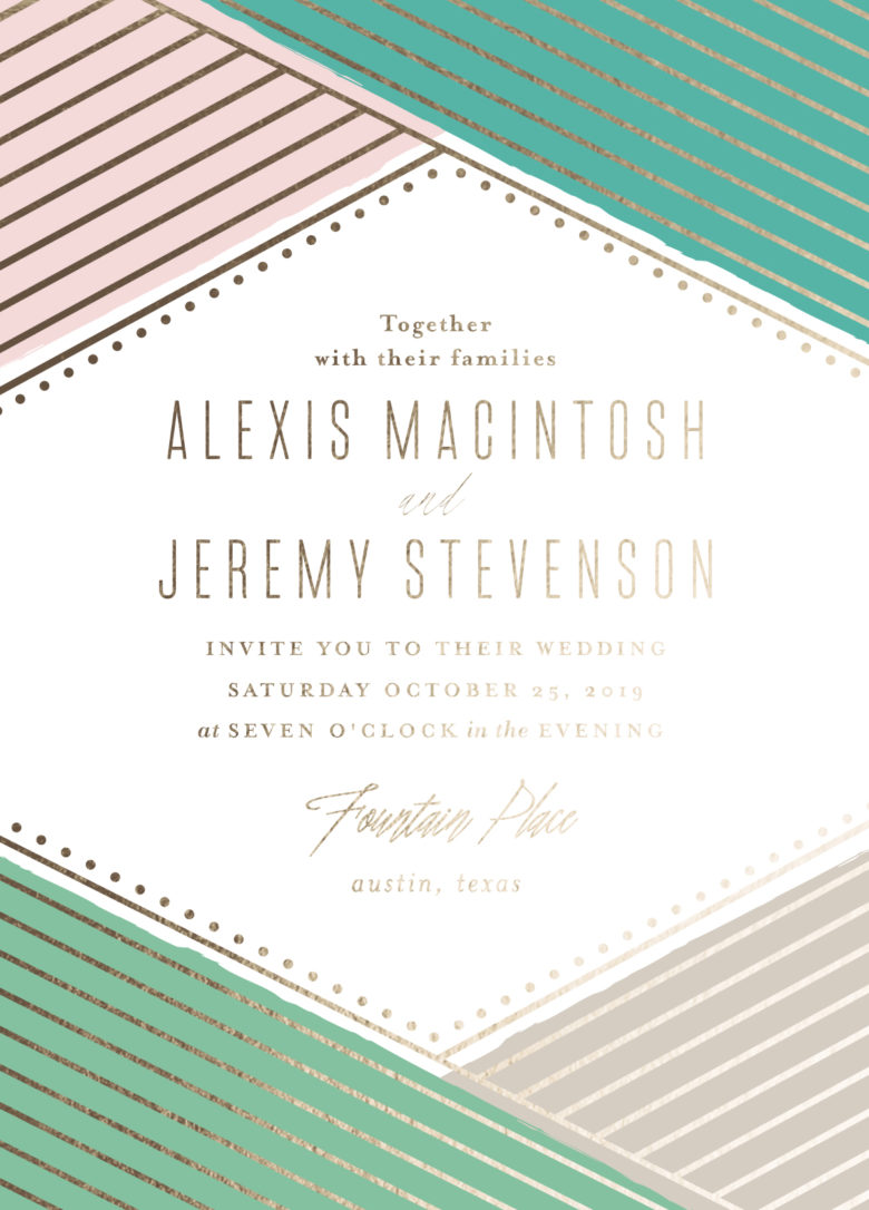 Overlap custom foil wedding invitations from minted