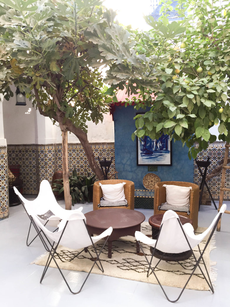 chairs and trees in the center of a moroccan courtyard