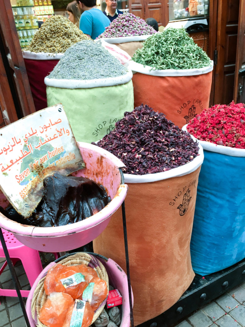 colorful bags of spices in Morocco