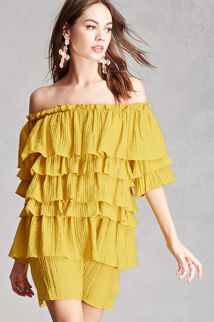 bright yellow nursing friend dresses with ruffles