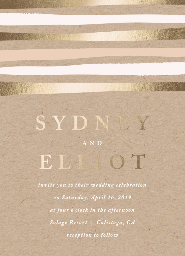 striped love custom foil wedding invitations from minted