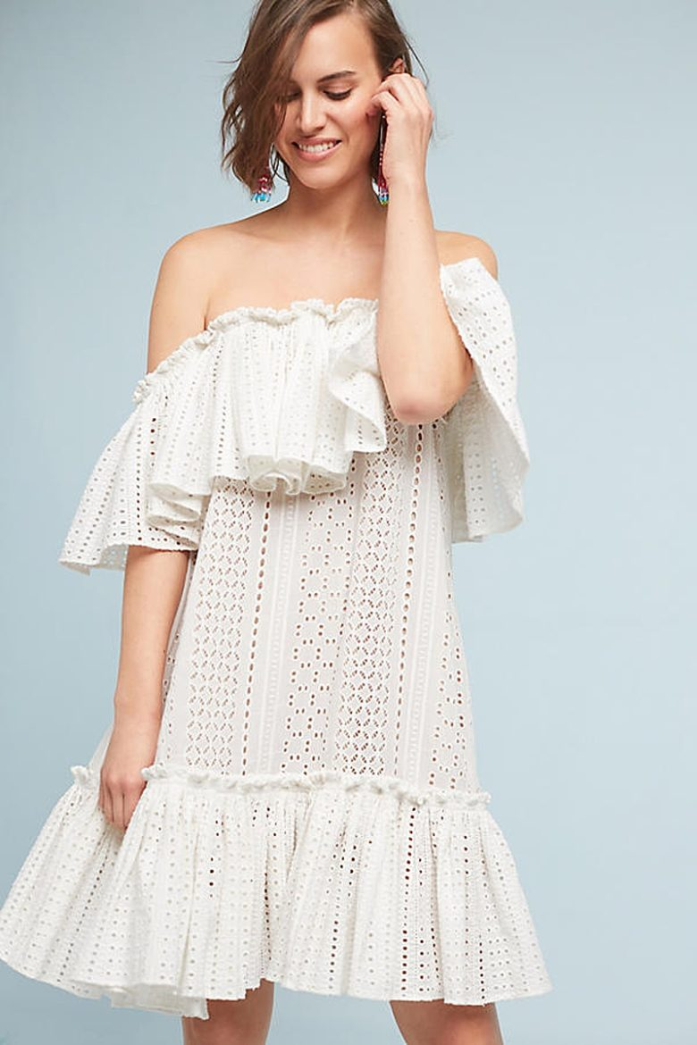 dropped shoulder lace knee length dress on white woman