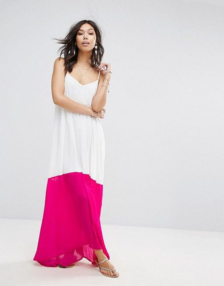 Sleeveless maxi white dress with pink colorblock bottom