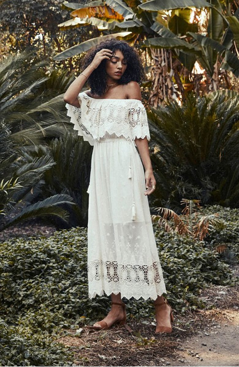 off the shoulder crochet ankle length white dress with natural hair model