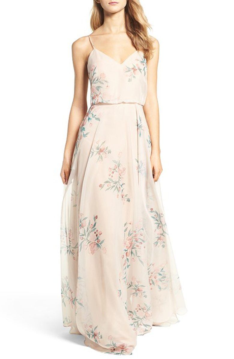 sleeveless cream dress with sheer floral layer