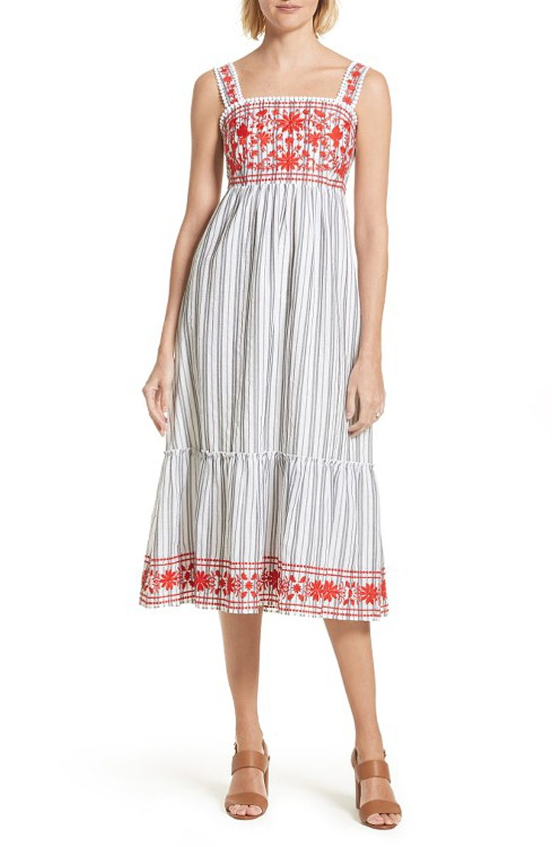 sleeveless black and white stripe peasant dress with red embroidery