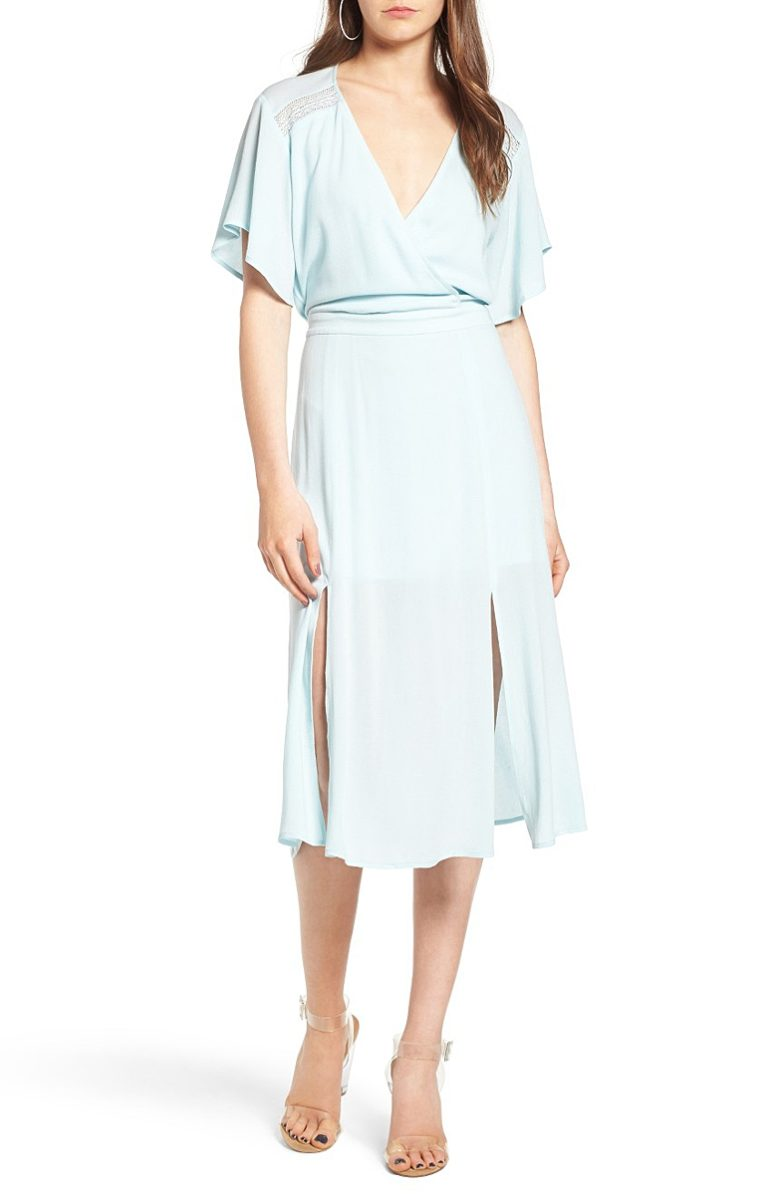 mini blue sheet wrap dress with lace inserts and slits