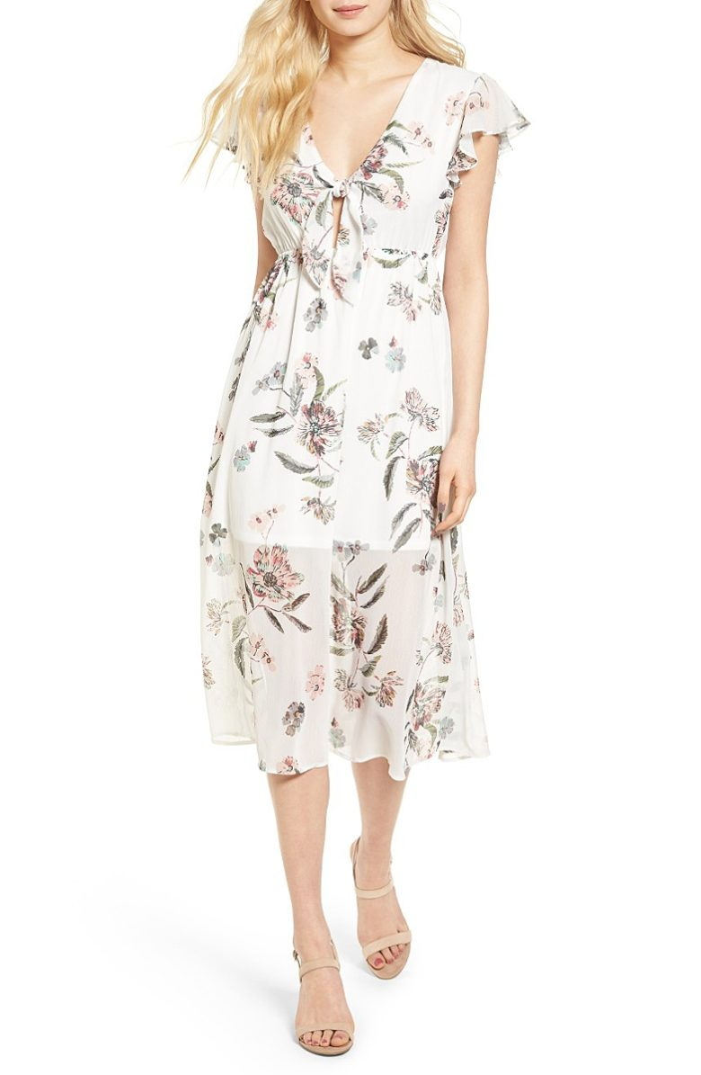 tie front short sleeve white dress with floral sheer overlay