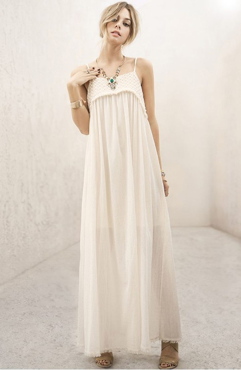 cream lace maxi spagetti strap dress with crochet detail