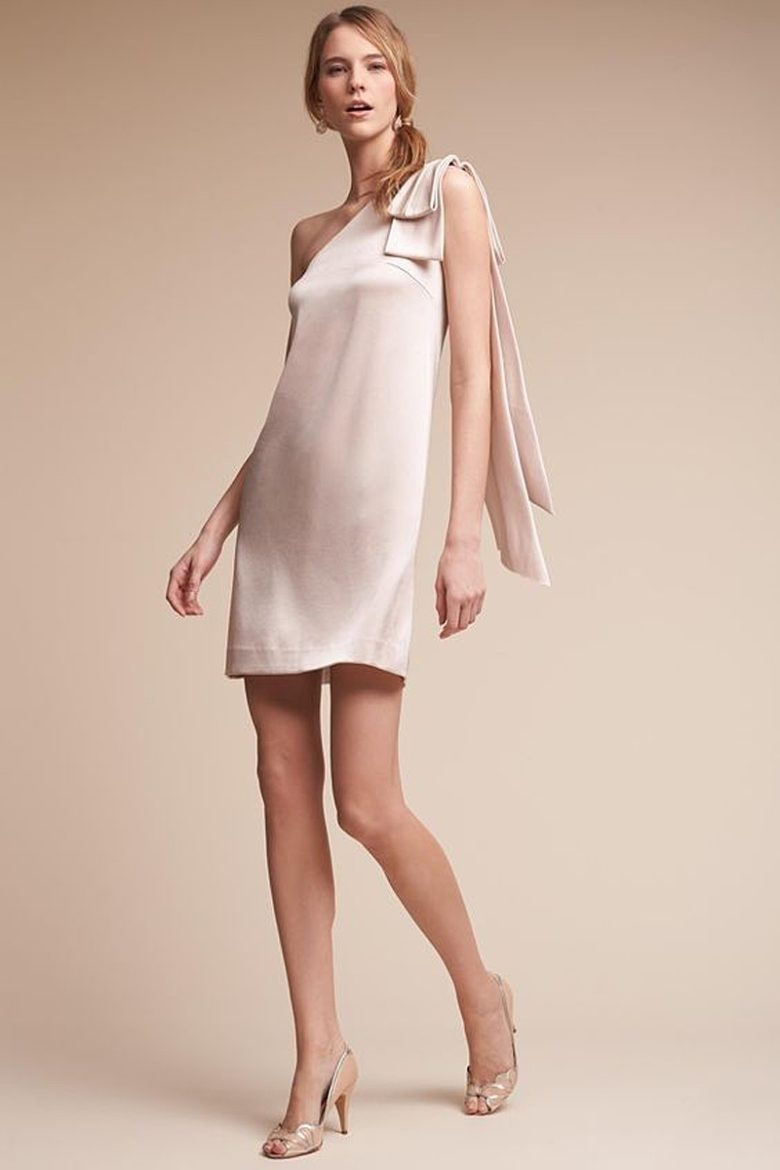 satin shift mini dress with single shoulder strap