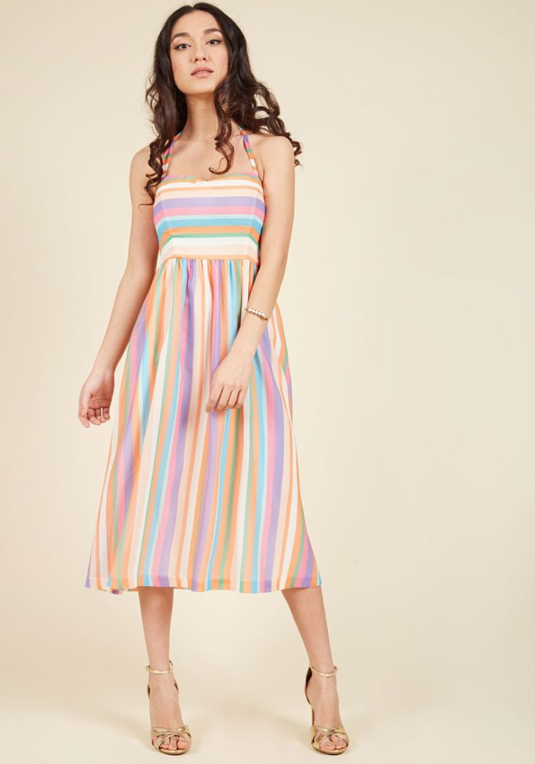 multicolor stripe halter dress on woman