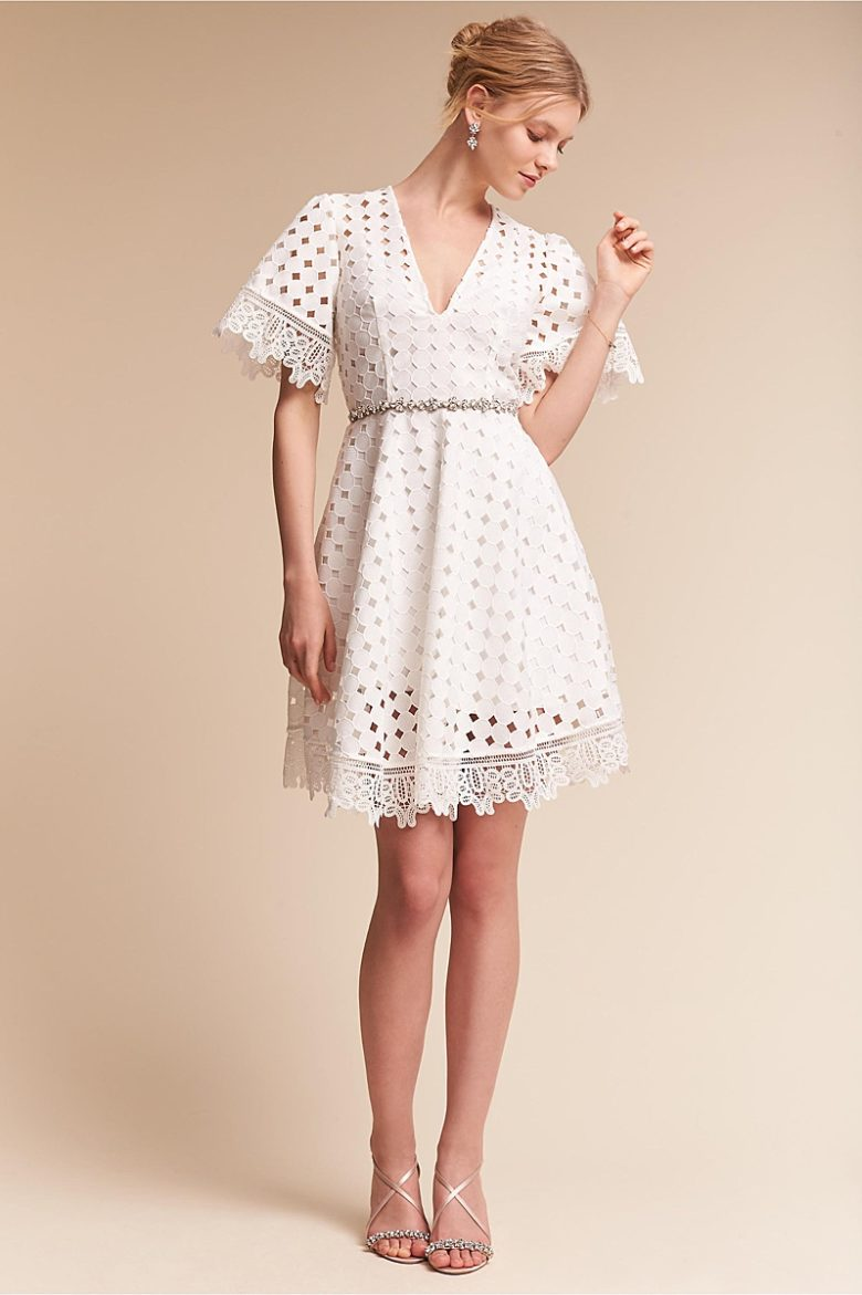 modern lace a line v neck dress on woman