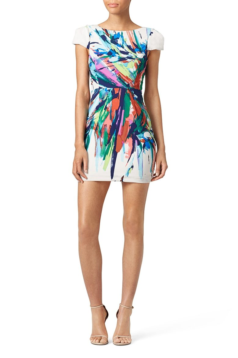 white bodycon short sleeve mini dress with abstract paint multicolor pattern
