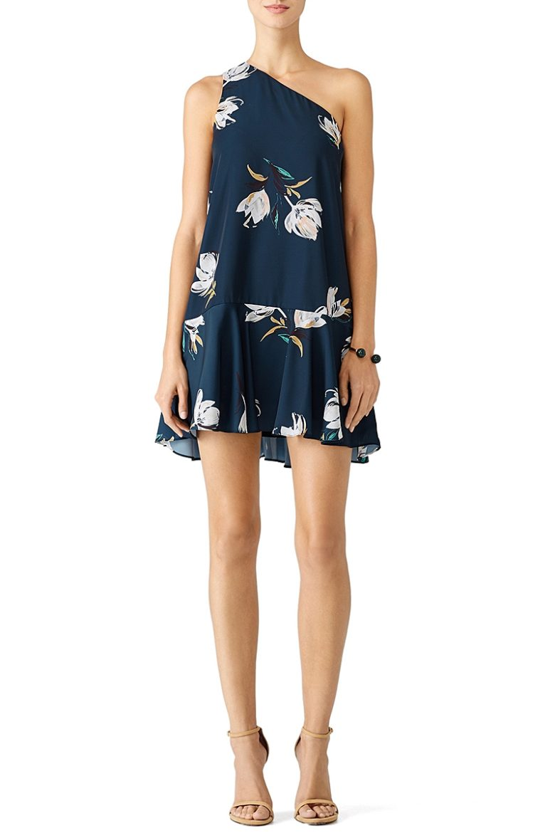 single shoulder minidress loose with modern floral details on navy