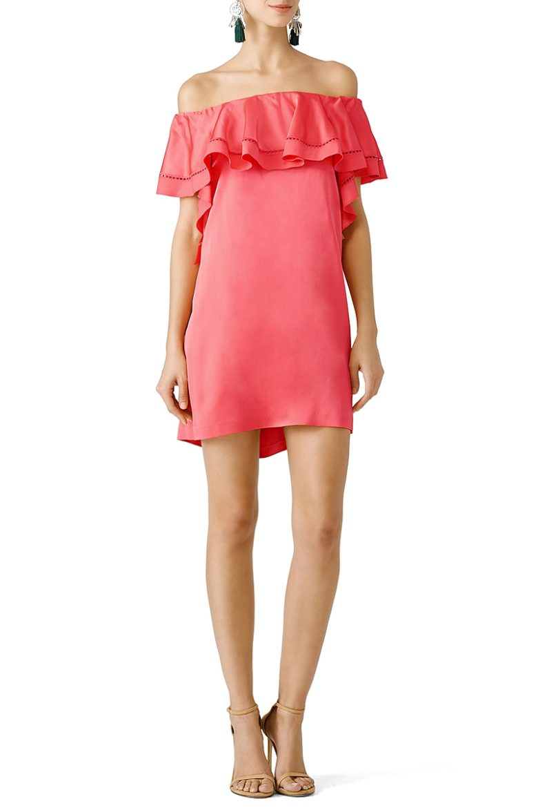 drop sleeve ruffle short tunic in coral