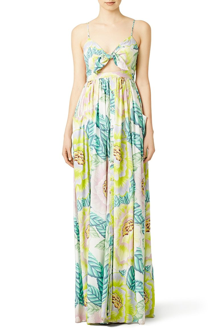 tie front cutout tropical maxi dress