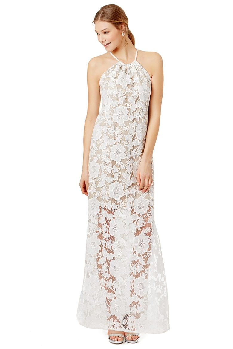 halter maxi dress with sheer lace overlay in white