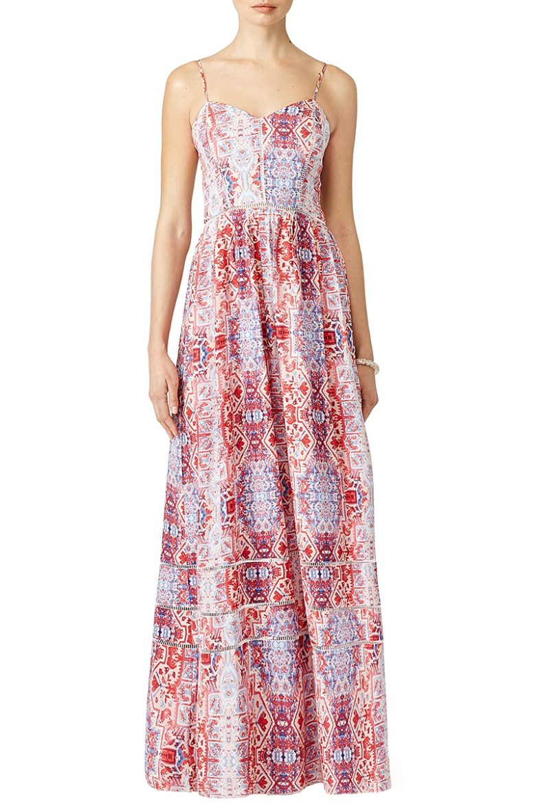 maxi dress with blue and red abstract print