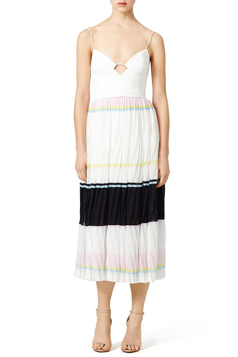 dress with fitted cutout top and colorblock white black and pink pleated bottom