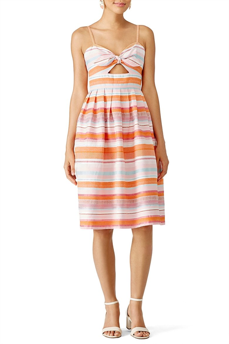 tie front striped orange and pink fitted dress