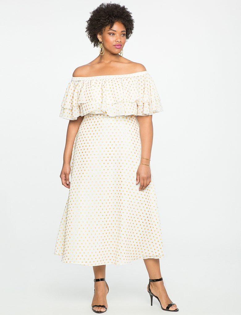 black woman in off the shoulder cream ruffle bridal shower dress with gold details