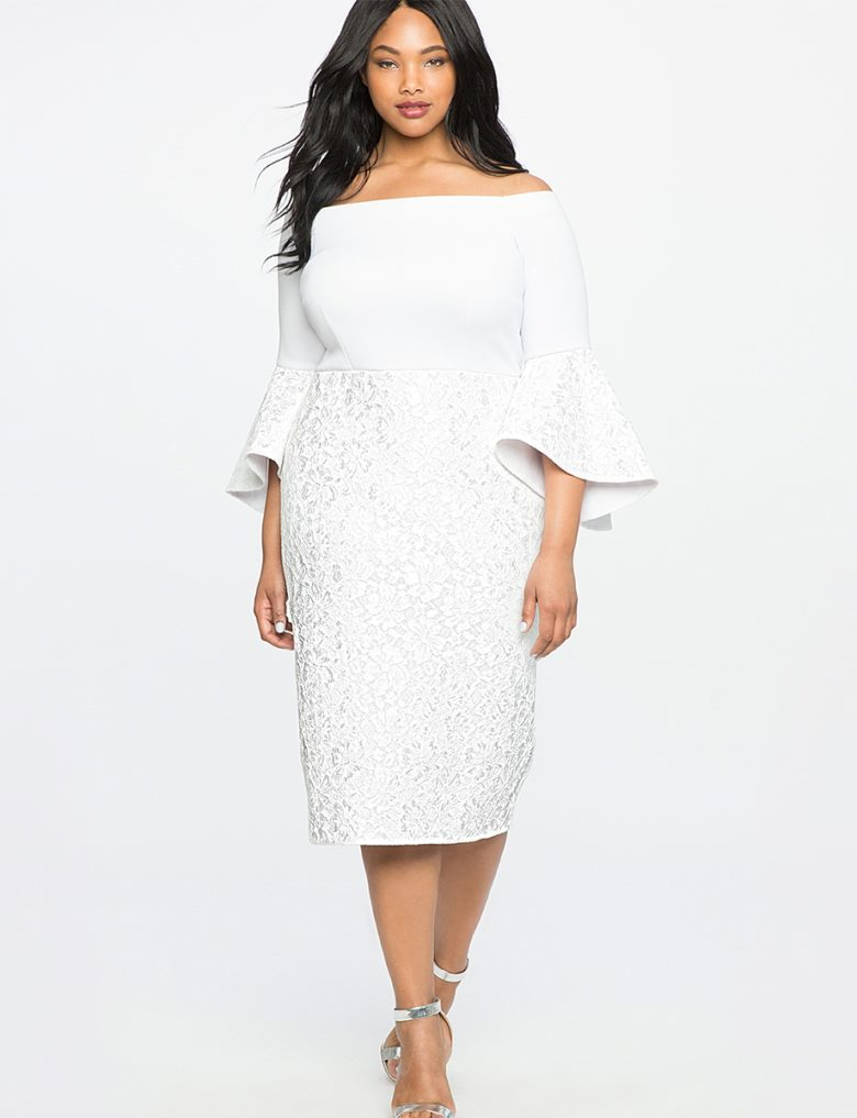 dropped shoulder trumpet sleeve fitted dress plus size on woman