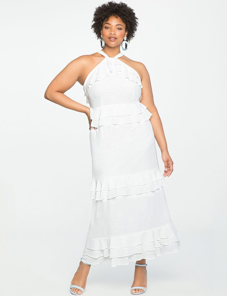 ruffled halter white dress defined waist