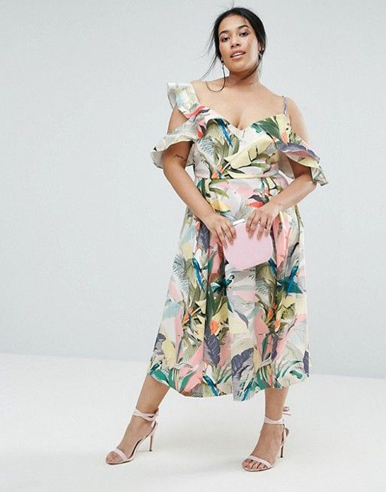 plus size tropical print dress with drop sleeve ruffle details