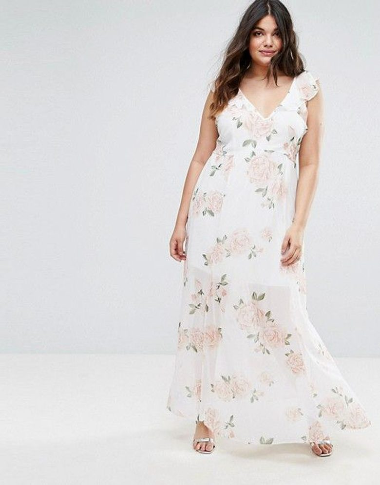 v neck floral white dress with sheer and ruffle details