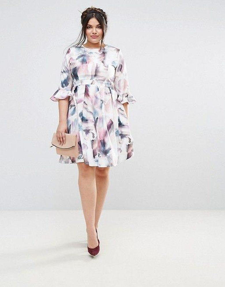 ruffled sleeve multicolor and white print dress