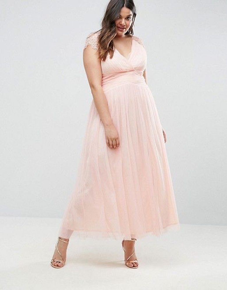 tulle rose v neck ankle length dress with lace cap sleeves