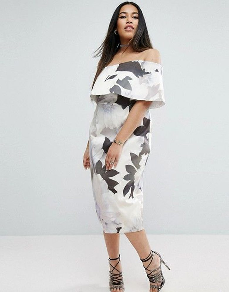 drop sleeve ruffle fitted dress with black and white floral patterns