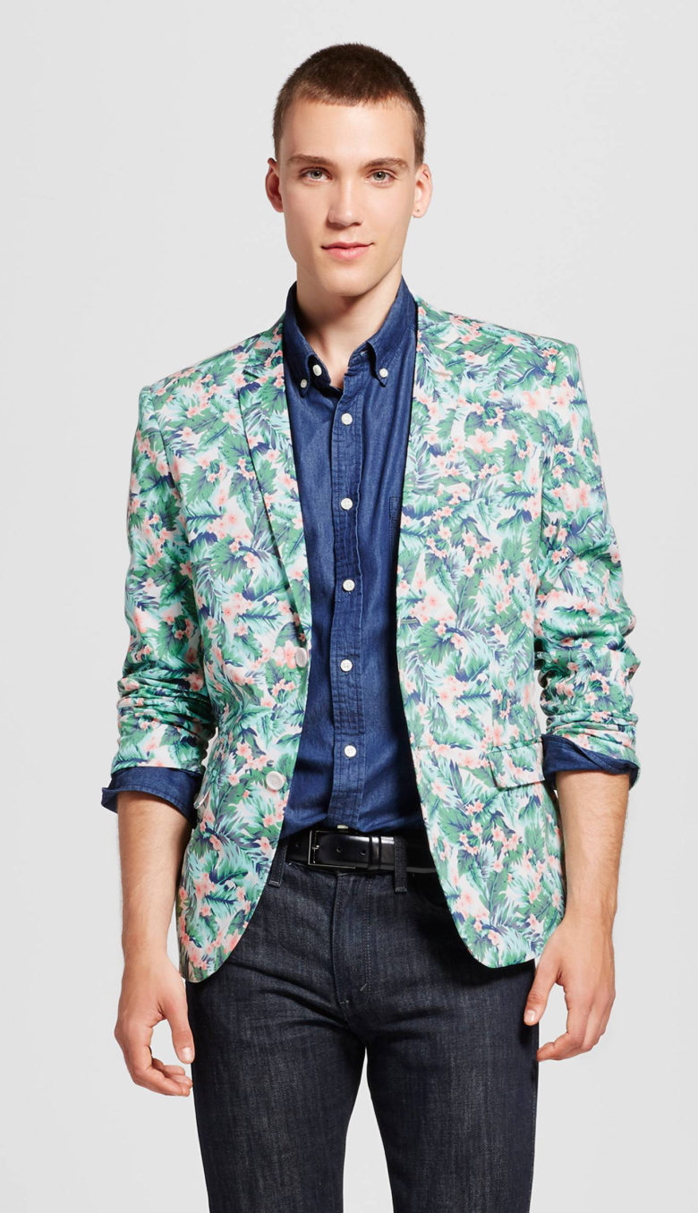 WD-NY Black Pink and Green Floral Blazer