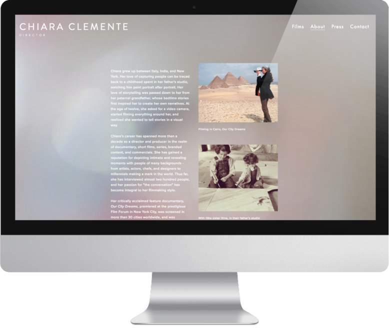 Chiara Clemente website on monitor