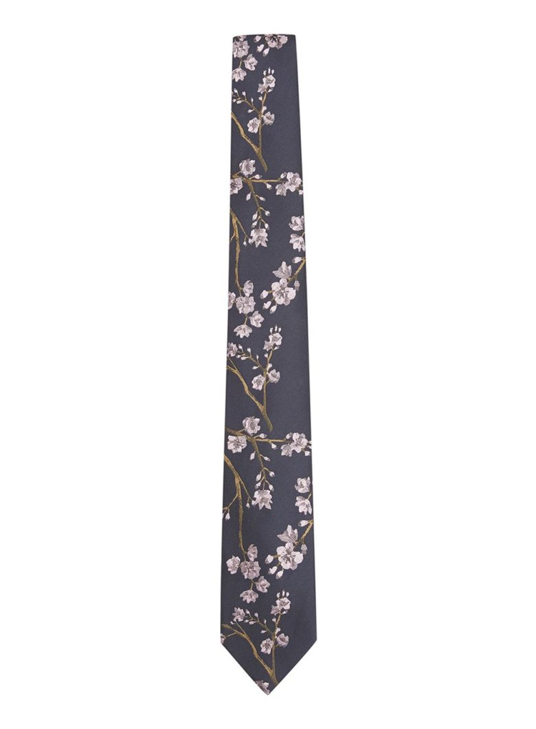 Navy Floral Print Tie from Topman