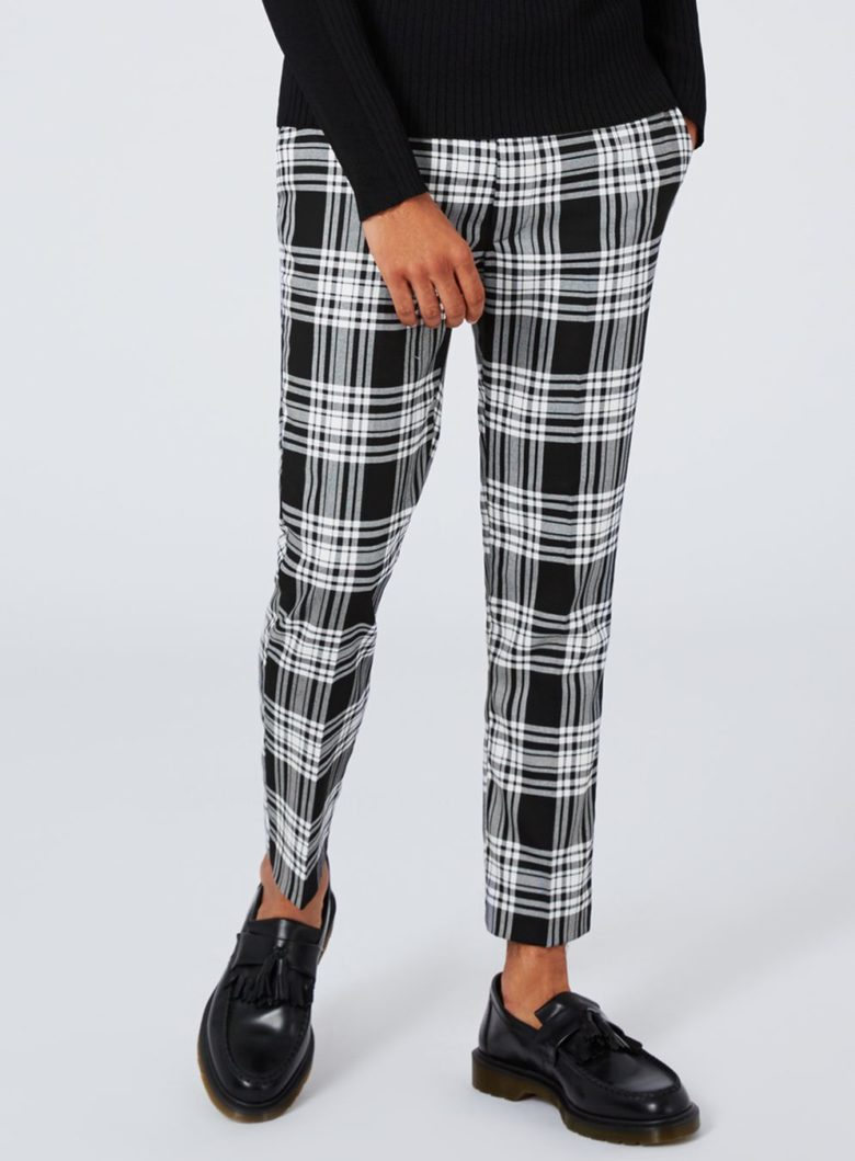 Pants: Black and White Check Ultra Skinny Fit Cropped Dress Pants